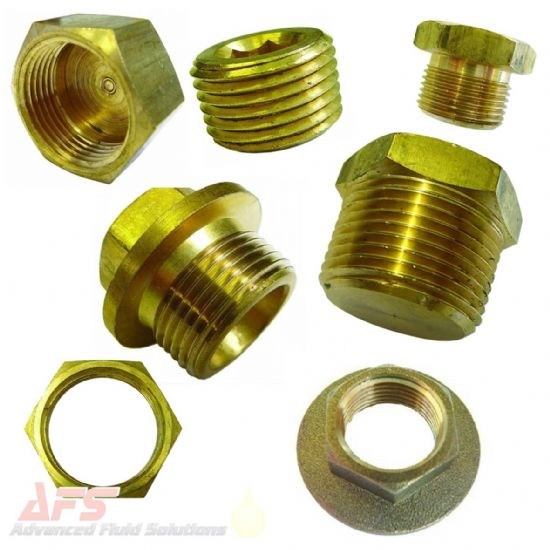 Brass Caps, Plugs & Bungs, Lock Nuts BSPT/BSP Threads